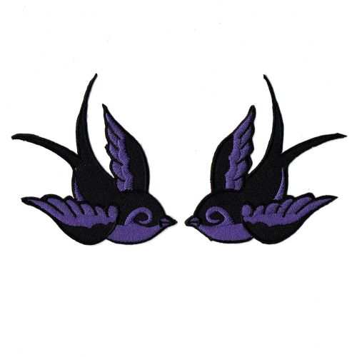 Swallows Black And Purple Patch Pair