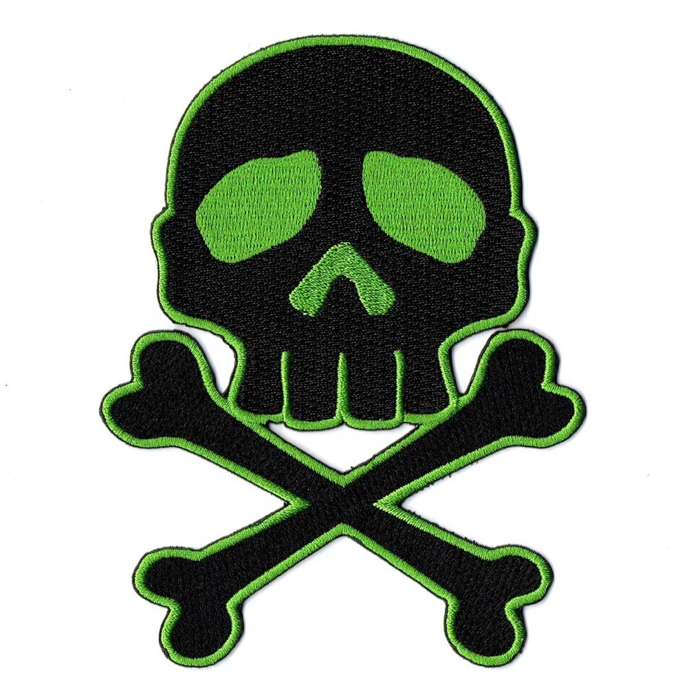 Kreepsville 666 Skull Cross Bones Green Patch