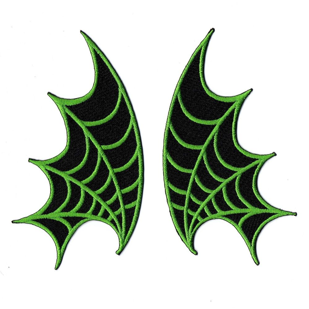 Kreepsville 666 Web Wings Green Patch Pair