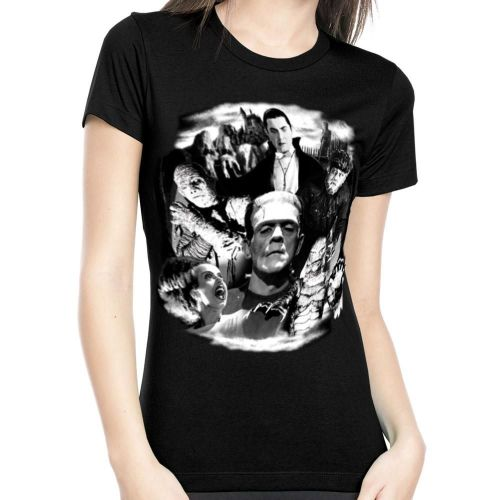 Rock Rebel Universal Monsters Collage Tshirt