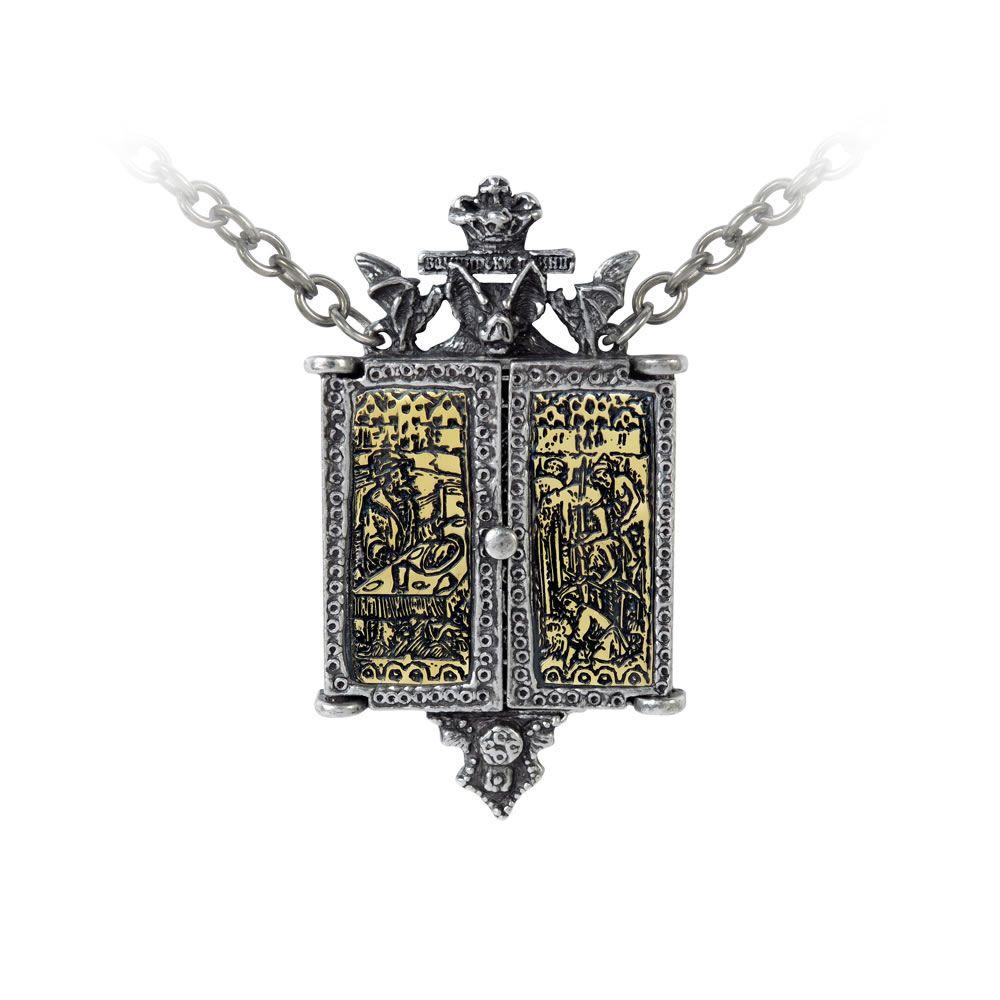 Alchemy Balkan Triptych Icon Locket Necklace