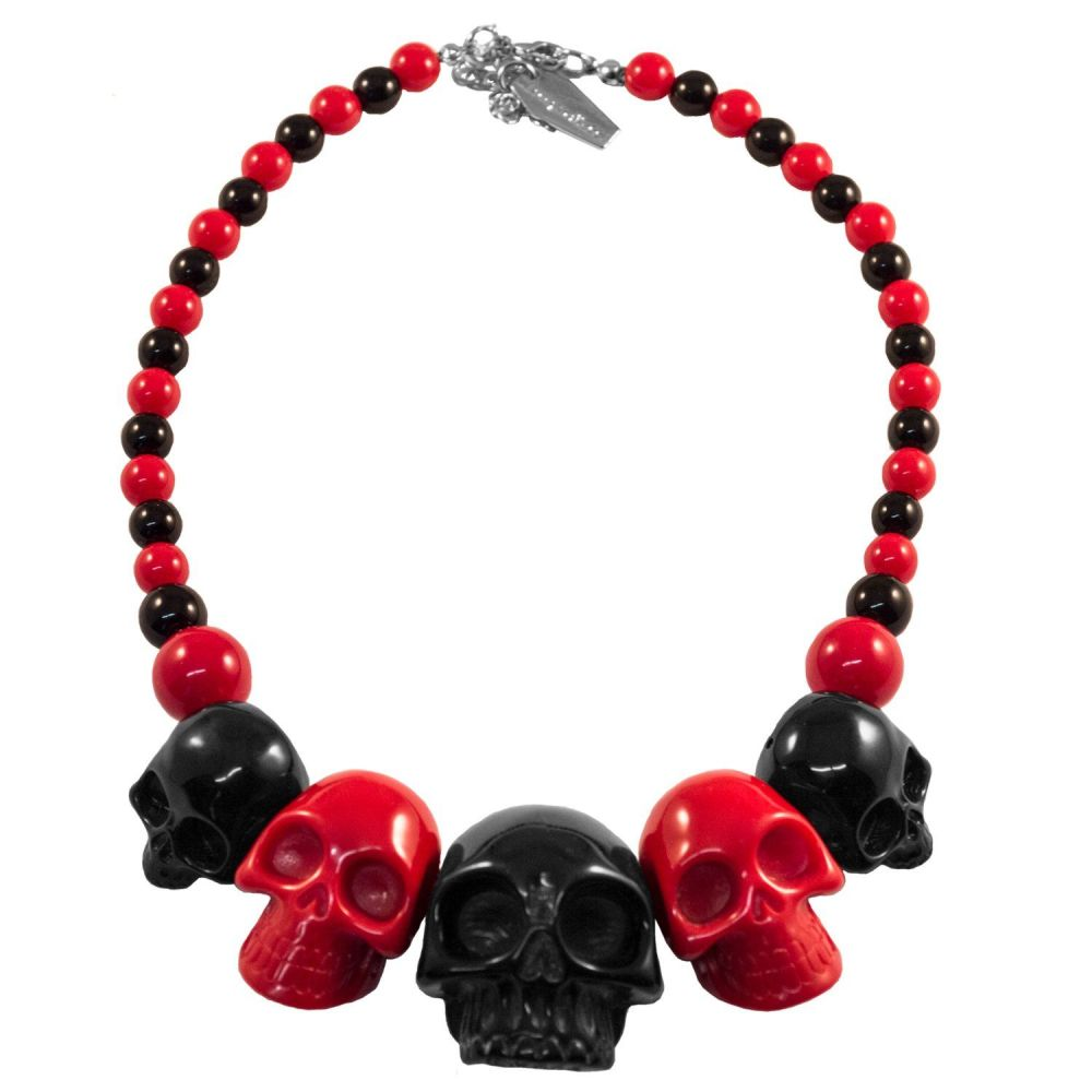 Kreepsville 666 Skull Collection Red And Black Necklace