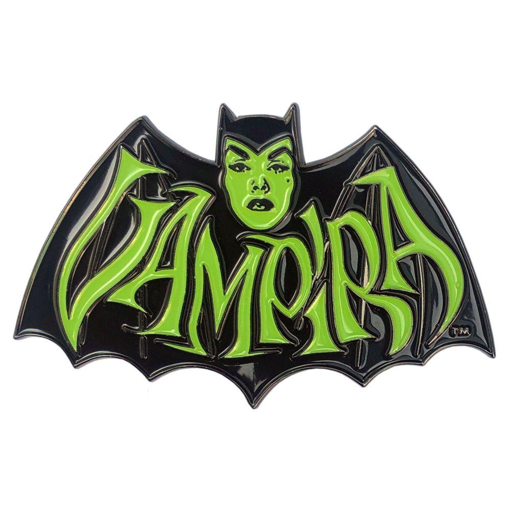 Kreepsville 666 Vampira Retro Bat Green Badge
