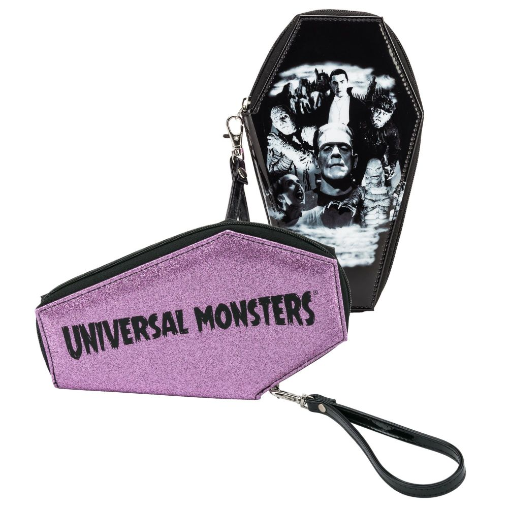 Universal Monsters Collage Coffin Glitter Wallet