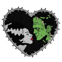 Bride And Frankenstein Heart Shaped Back Patch