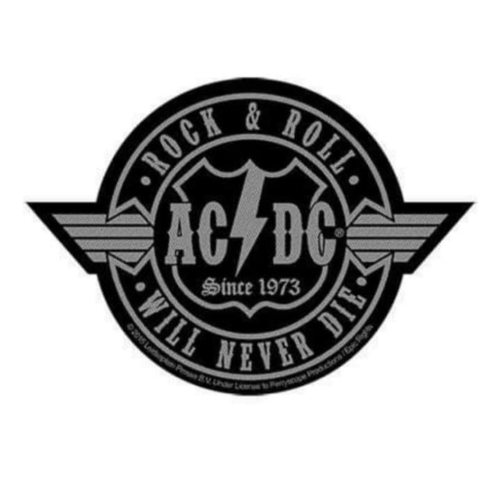 AC/DC Rock N Roll Will Never Die Cut Out Patch