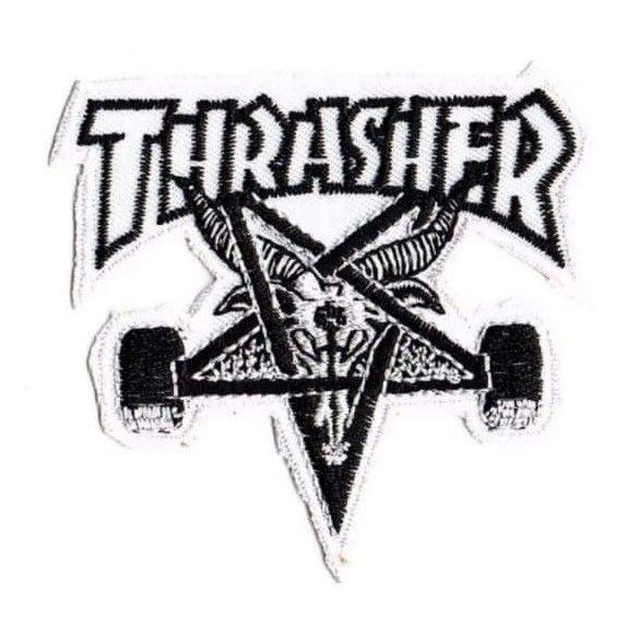 Thrasher Pentagram Baphomet Black On White Patch