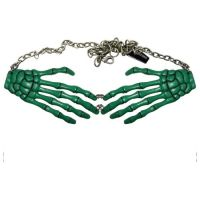 Kreepsville 666 Skeleton Bone Hand Green Necklace