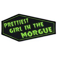 Prettiest Girl In The Morgue Green On Black Coffin Patch