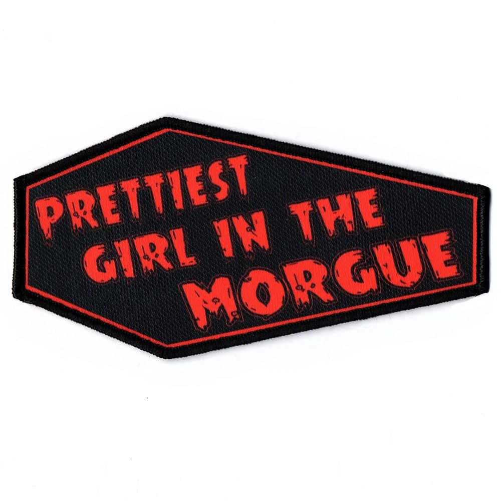 Prettiest Girl In The Morgue Red On Black Coffin Patch