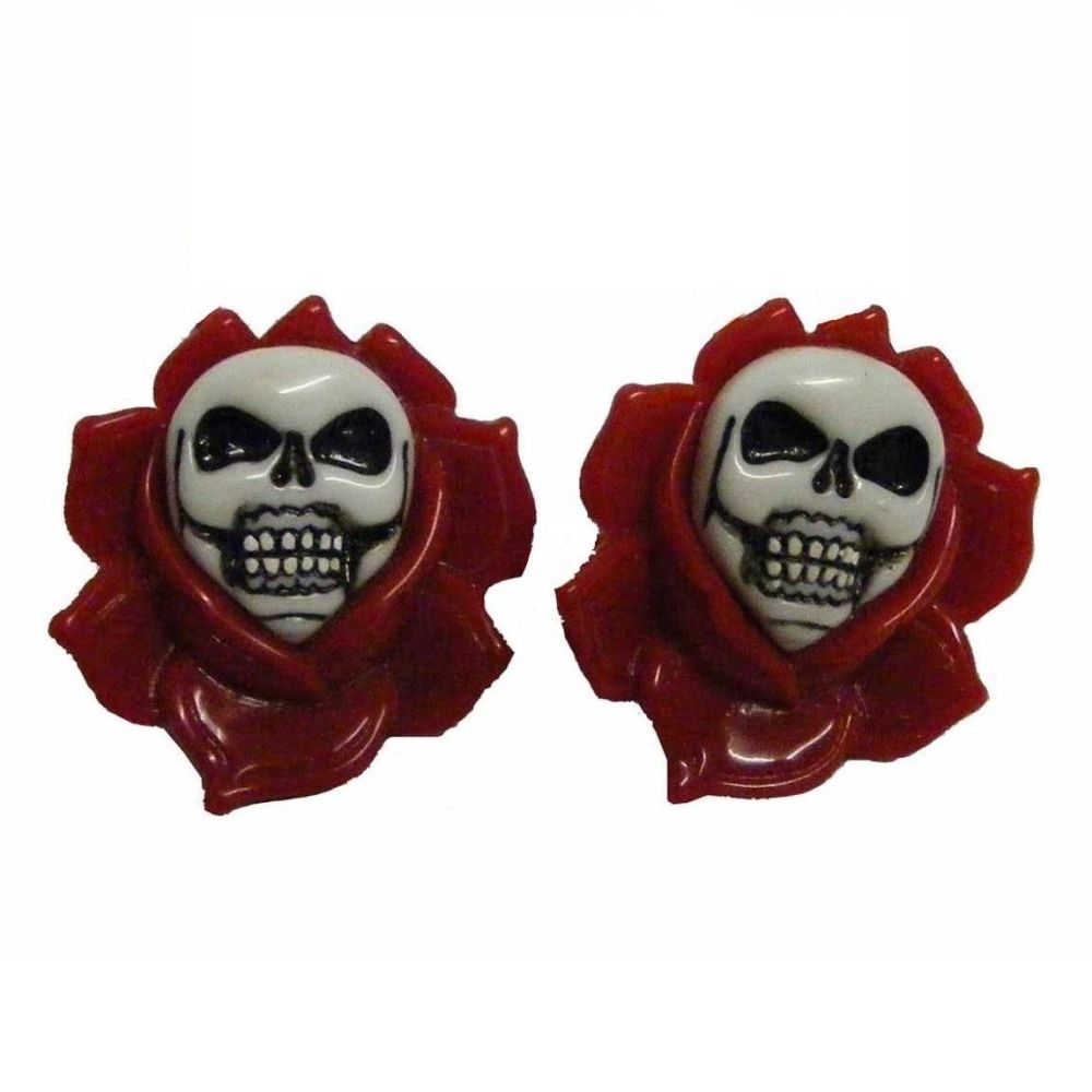 Kreepsville 666 Skull Rose Red Hair Slides