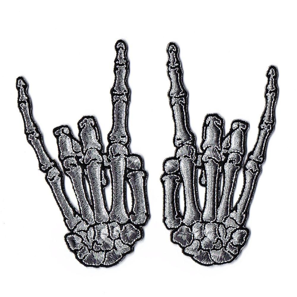 Kreepsville 666 Skeleton Devil Bone Grey Patch Pair