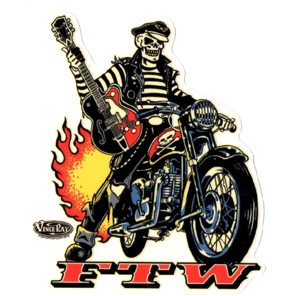 Vince Ray Biker FTW Sticker
