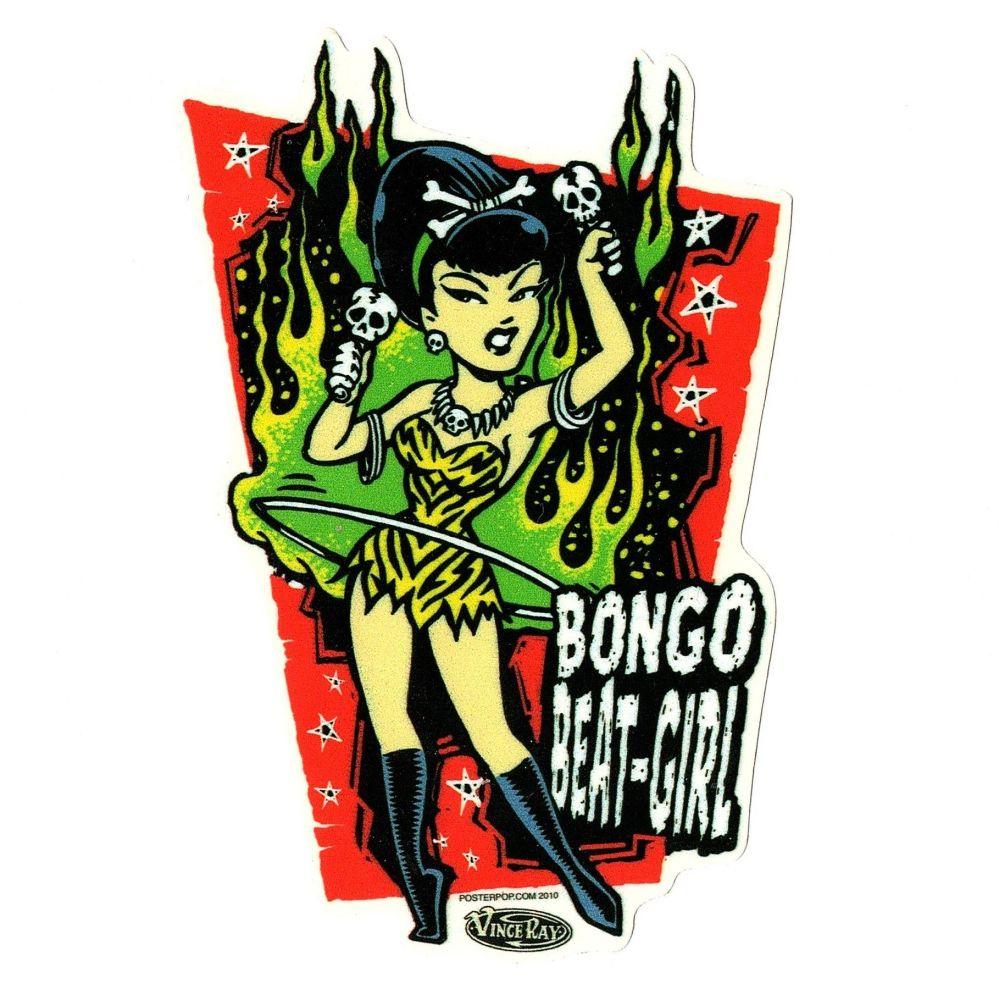 Vince Ray Bongo Beat Girl Sticker
