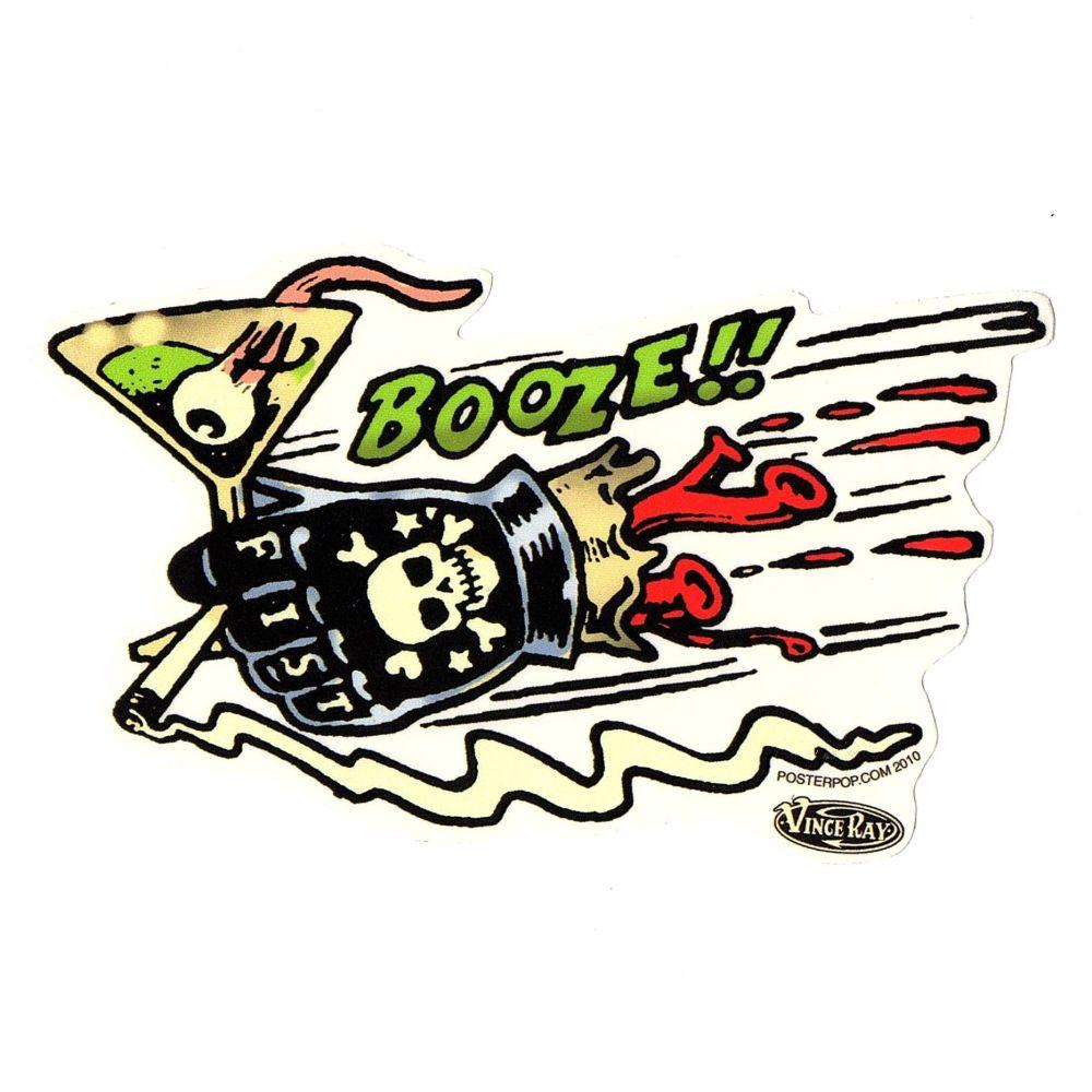 Vince Ray Booze Fist Sticker