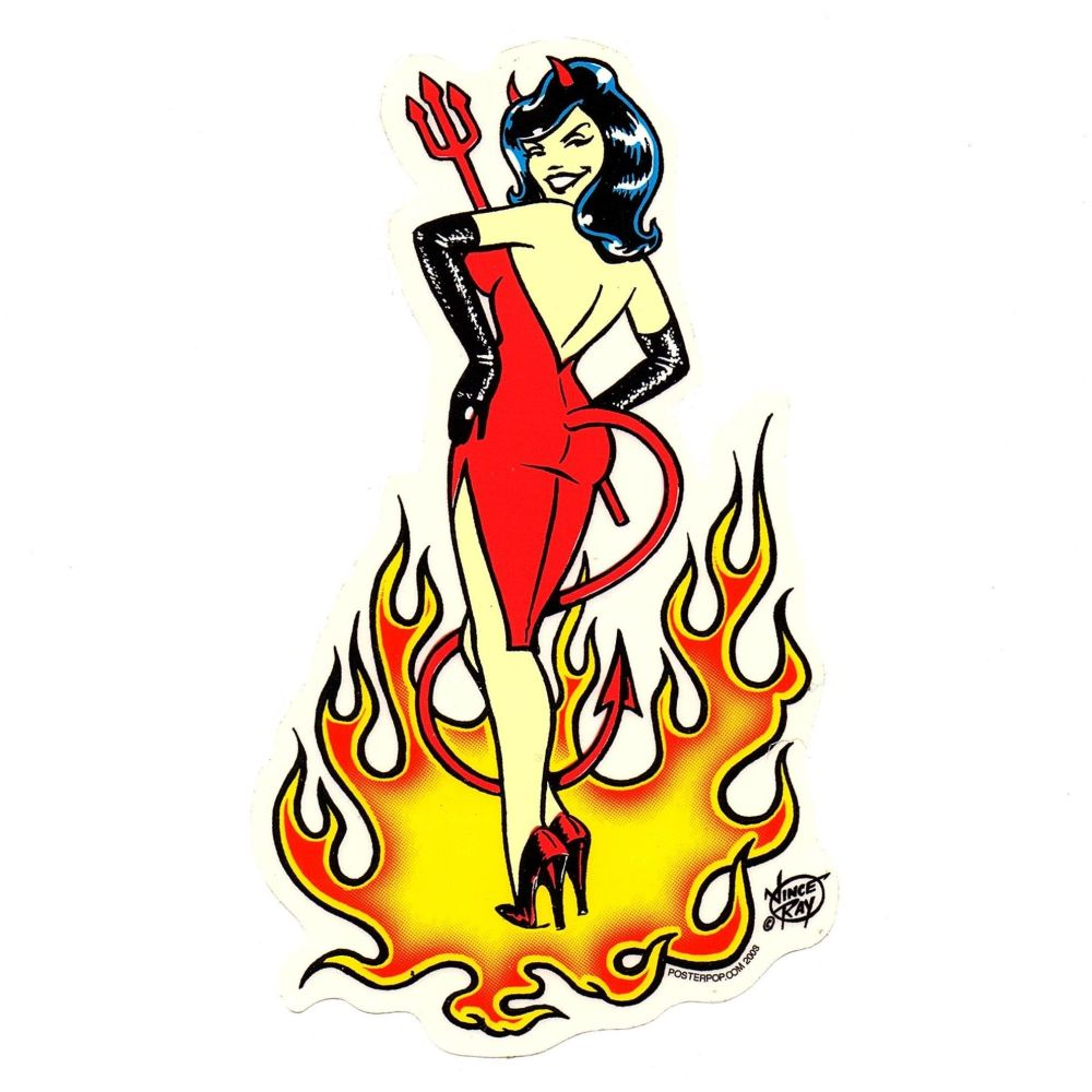 Vince Ray Devil Girl Sticker