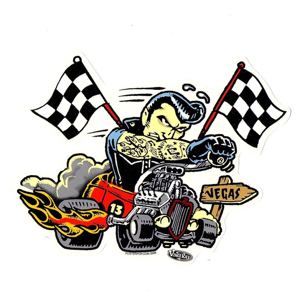 Vince Ray Hotrod To Vegas Sticker