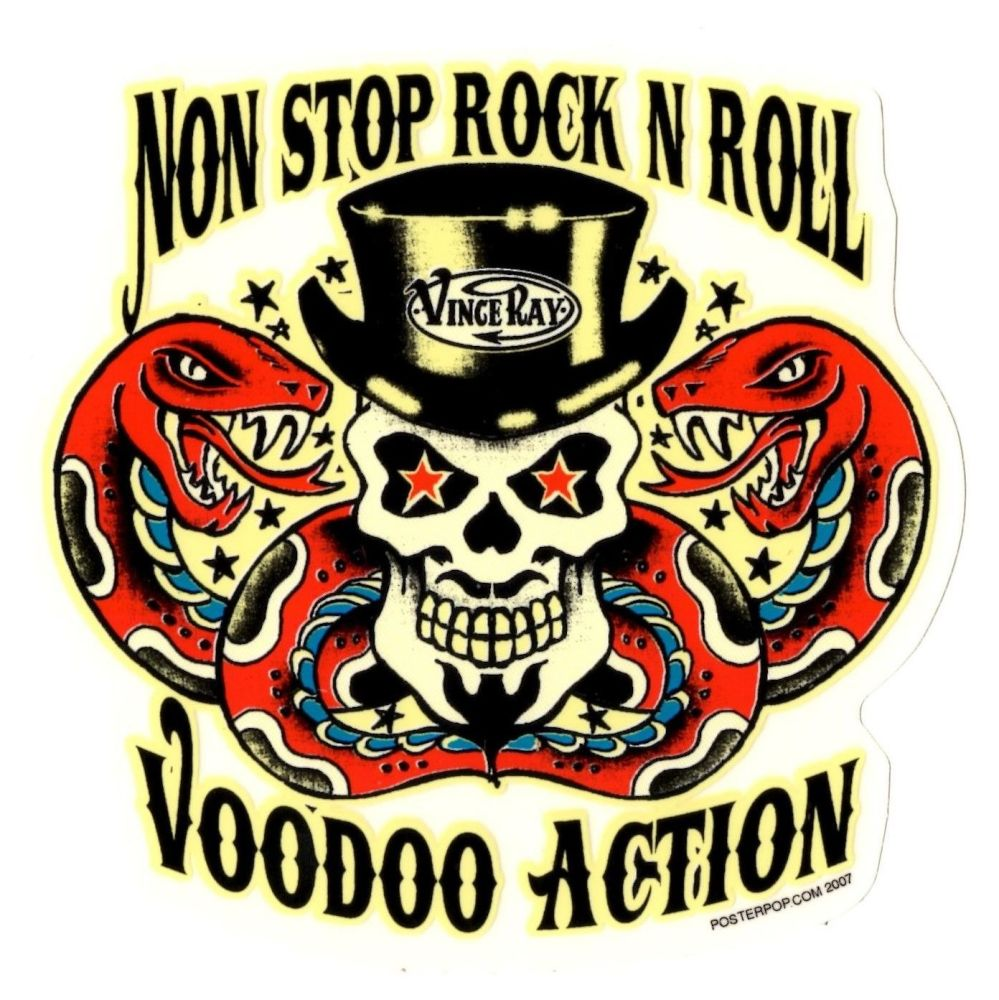 Vince Ray Non Stop Voodoo Rock And Roll Sticker