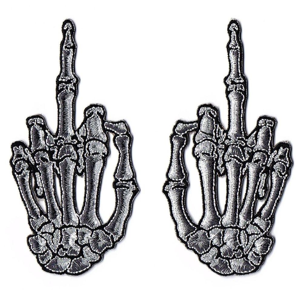 Kreepsville 666 Skeleton Finger Bone Grey Patch Pair