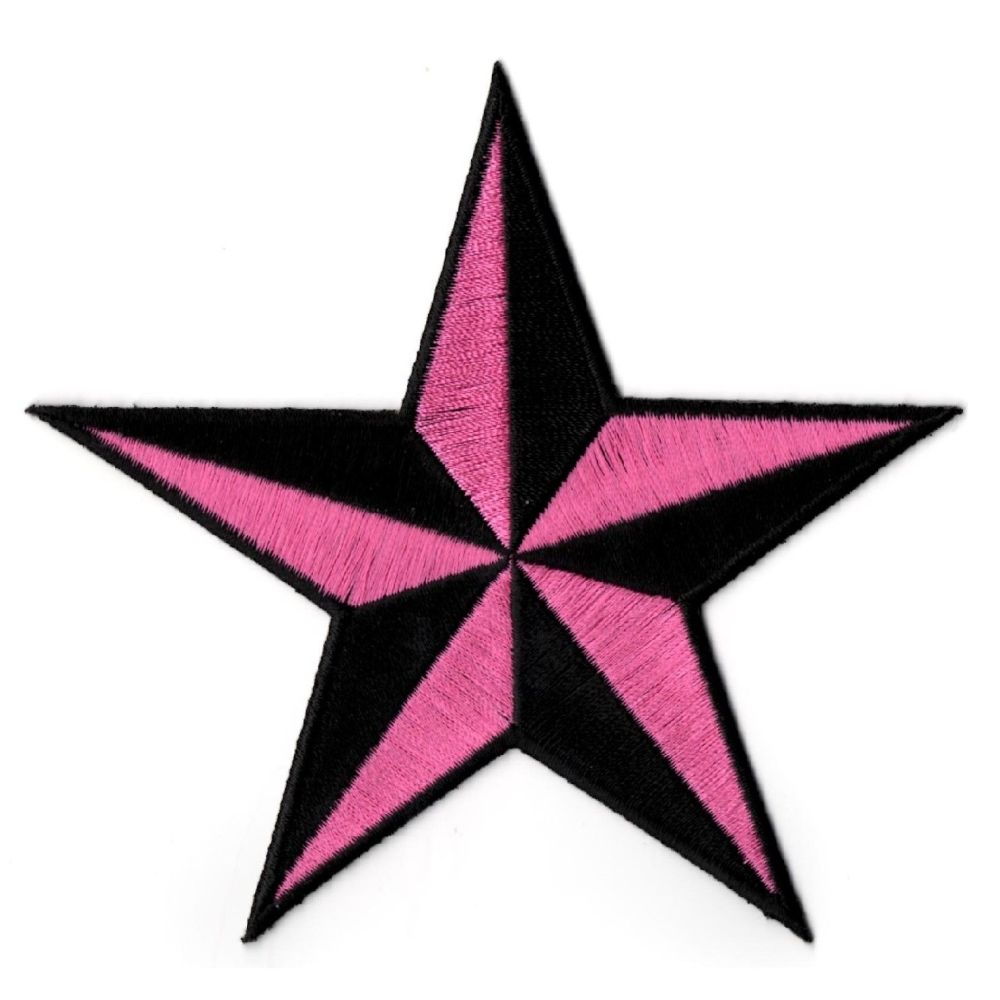 Nautical Star Black And Pink Patch