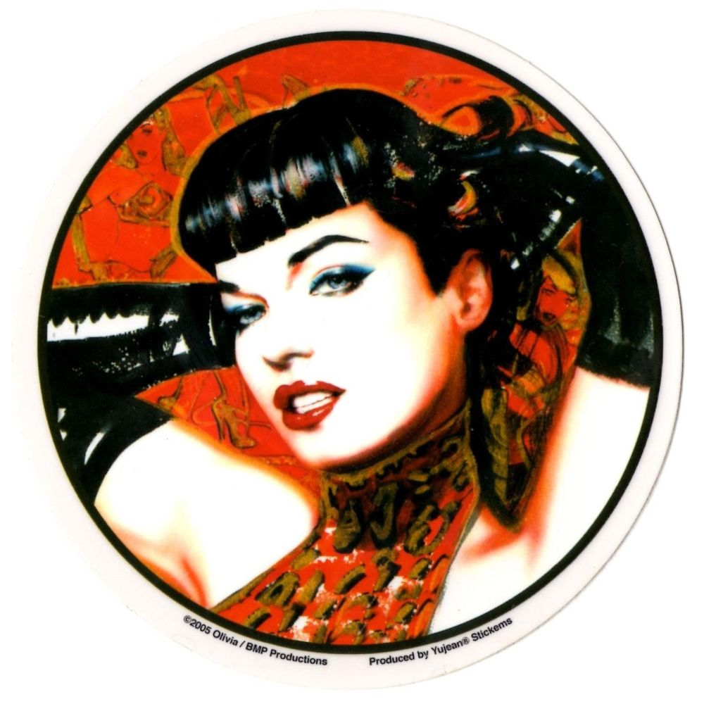 Olivia Red Bettie Page With Gloves Sticker