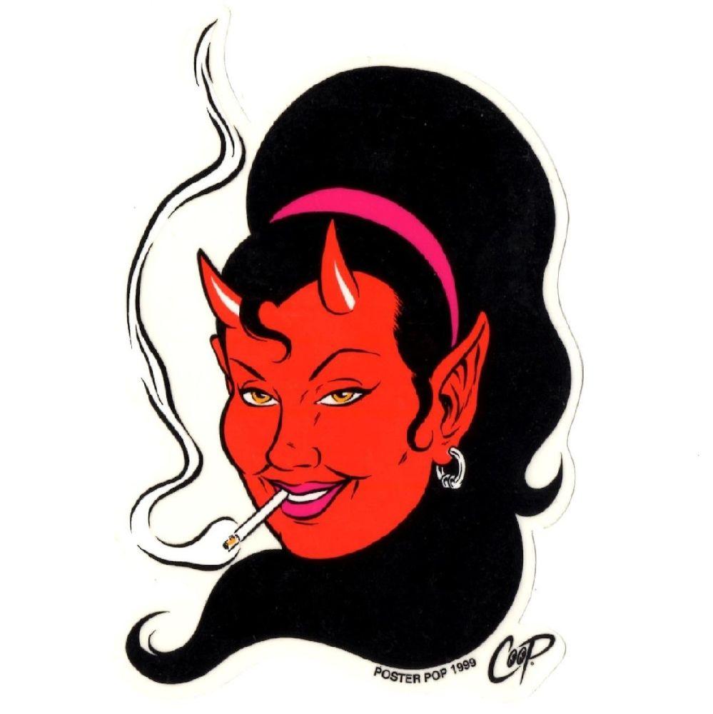 Coop Smokin Devil Girl Sticker