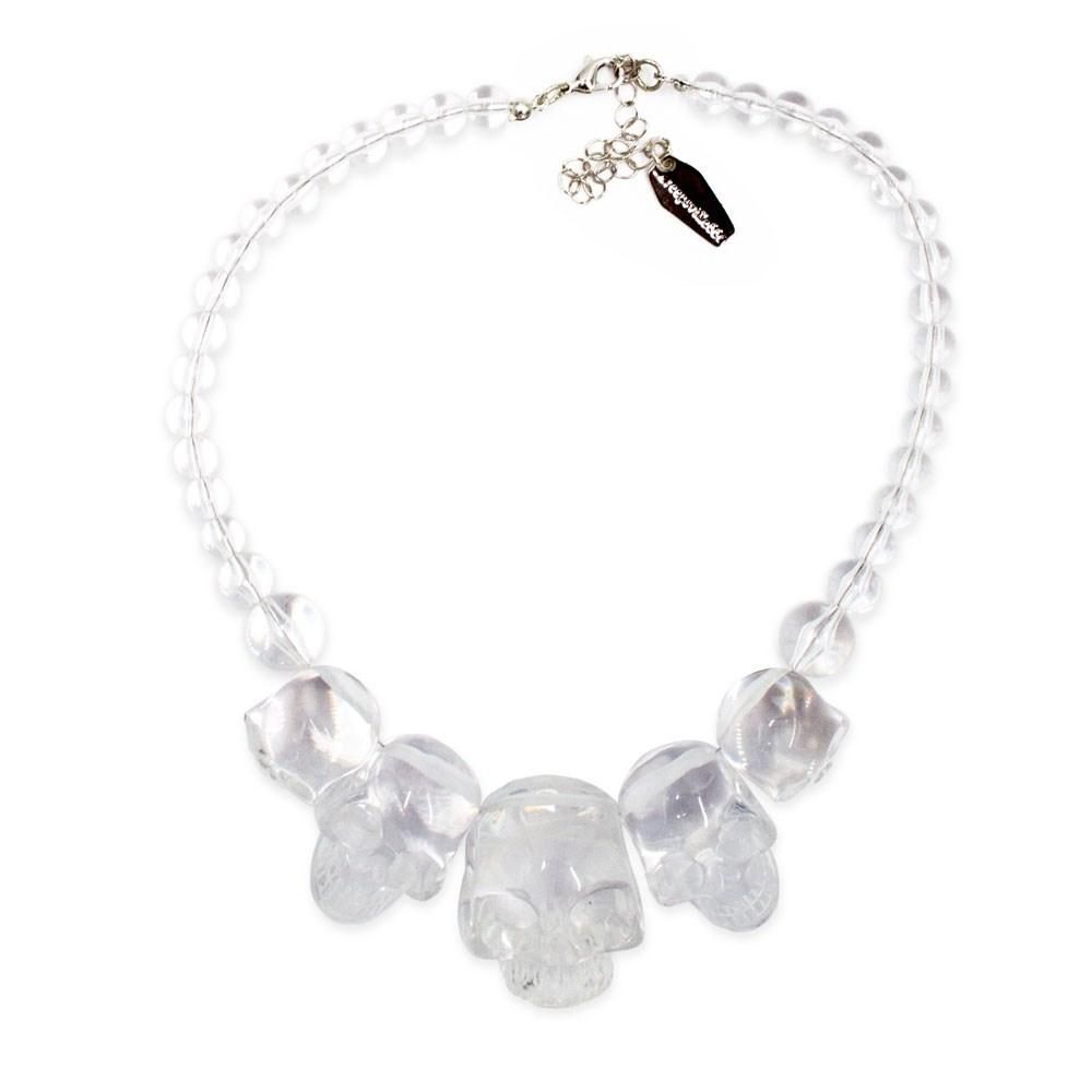 Kreepsville 666 Skull Collection Crystal Clear Necklace