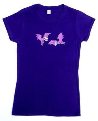 Rock N Roll Suicide Pair Of Purple Bats Purple Lady Fit Tshirt