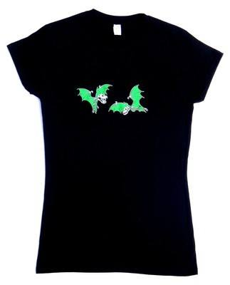 Rock N Roll Suicide Pair Of Green Bats Lady Fit Tshirt SMALL