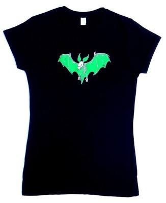 Rock N Roll Suicide Green Devil Bat Lady Fit Tshirt SMALL