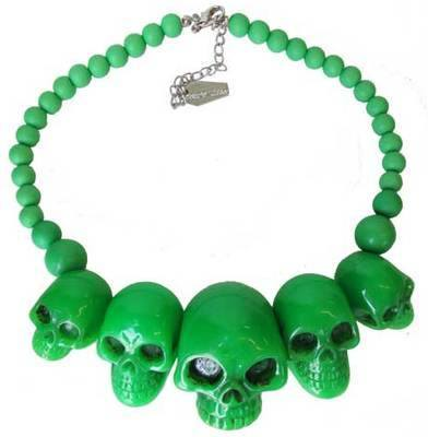 Kreepsville 666 Skull Collection Green Necklace