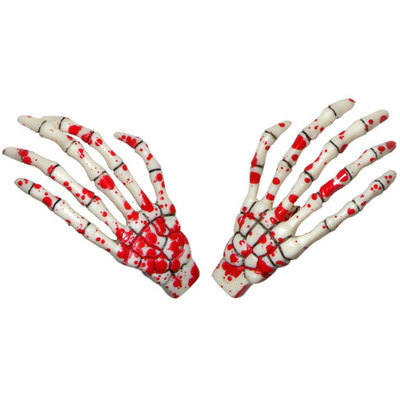 Kreepsville 666 Skeleton Bone Hand Blood Splattered Hair Slides
