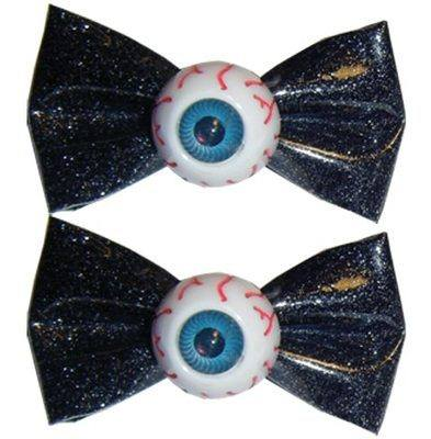 Kreepsville 666 Glitter Bow Eyeball Black Hair Slides