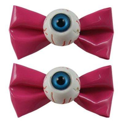 Kreepsville 666 Eyeball Bow Pink Hair Slides