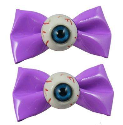 Kreespville 666 Eyeball Bow Purple Hair Slides