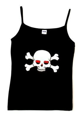 Rock N Roll Suicide Skull And Crossbones Black Strappy Top MEDIUM