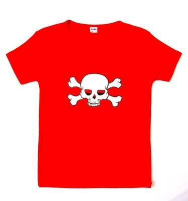 Rock N Roll Suicide Skull And Crossbones Red Lady Fit Tshirt SMALL