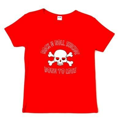 Rock N Roll Suicide Born To Lose Red Lady Fit Tshirt SMALL