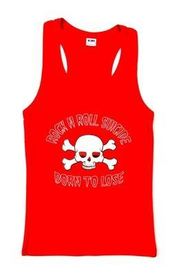 Rock N Roll Suicide Born To Lose Red Vest Top SMALL
