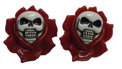 Kreepsville 666 Skull Rose Red Hair Slides