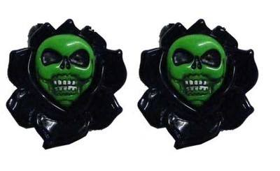 Kreepsville 666 Skull Rose Black Hair Slides