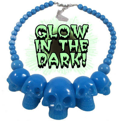 Kreepsville 666 Skull Collection Blue Glow In The Dark Necklace