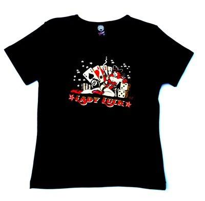 Vince Ray Lady Luck Black Lady Fit Tshirt Small