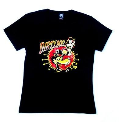 Vince Ray Dirty Dog Black Lady Fit Tshirt Small