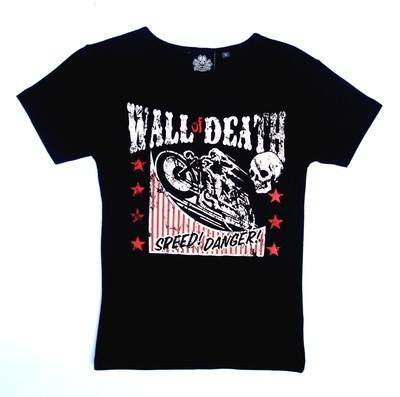 Wall Of Death Black Lady Fit Tshirt Large