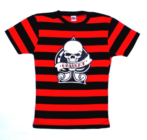 Rock N Roll Suicide Unlucky Ace Black And Red Striped Lady Fit Tshirt Small