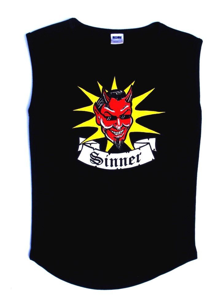 Rock N Roll Suicide Devil Sinner Black Sleeveless Top Small