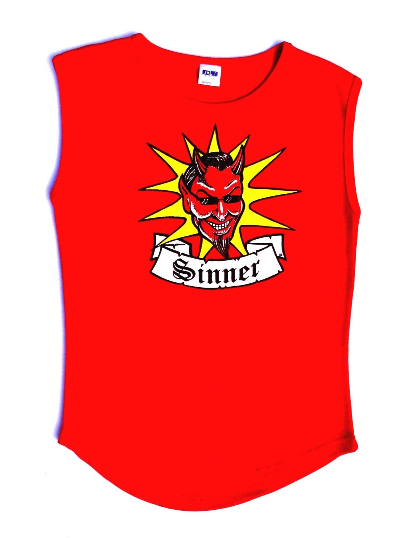Rock N Roll Suicide Devil Sinner Red Sleeveless Top Medium