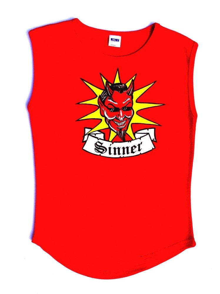 Rock N Roll Suicide Devil Sinner Red Sleeveless Top Medium
