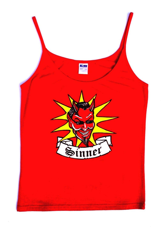 Rock N Roll Suicide Devil Sinner Red Strappy Top Medium